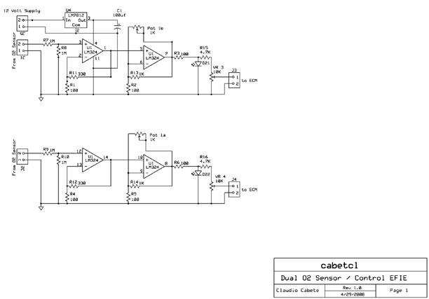 DIY Dual Oxygen Sensor Fuel Saver Circuit (EFIE) Oxygen Sensor Schematic on